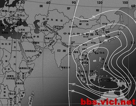 166°E国际19号卫星C波段太平洋垂直波束EIRP场强图