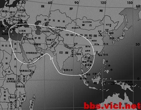 印星3A卫星C波段扩散波束EIRP场强图