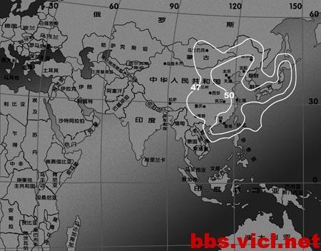 144°E超鳥C衛星Ku波段東北亞垂直波束EIRP場強圖