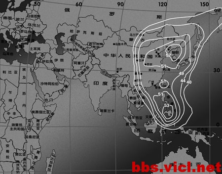 Ku波段东北亚波束EIRP场强图