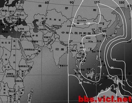 169°E国际5号卫星C波段太平洋水平波束2EIPR场强图