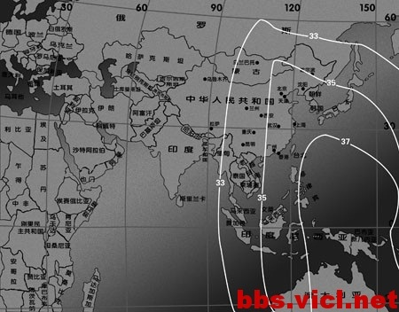 180°E国际18号卫星C波段EIRP场强图